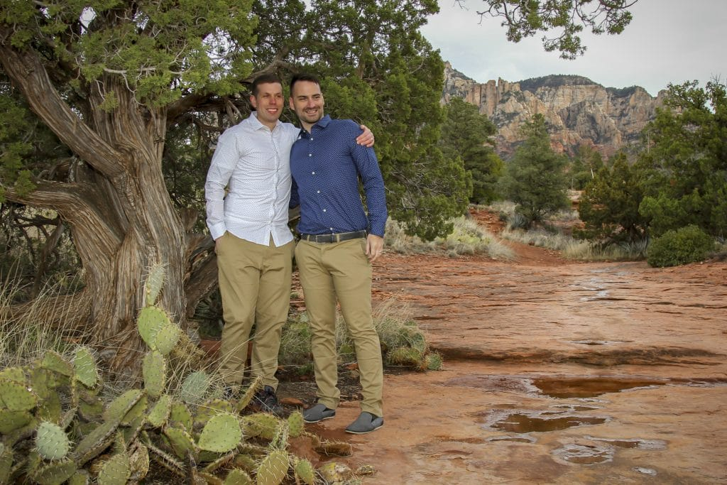 same sex wedding at Huckaby in Sedona